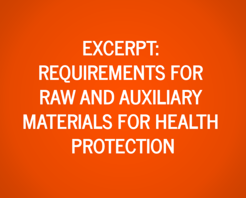 Extract from the requirements for raw and auxiliary materials for health protection principle